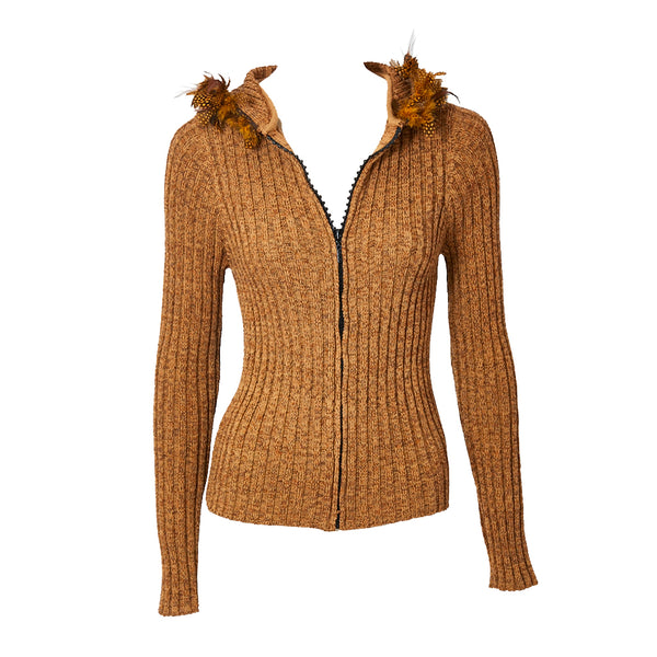 827b6607e06 Yves Saint Laurent Hooded Cardigan with Feather Detail