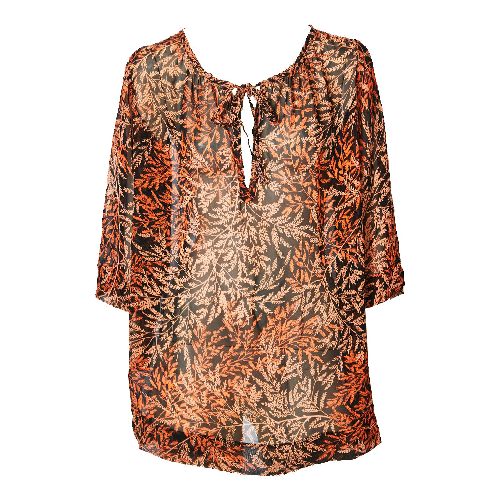 Yves Saint Laurent Fern Pattern Chiffon Tunic