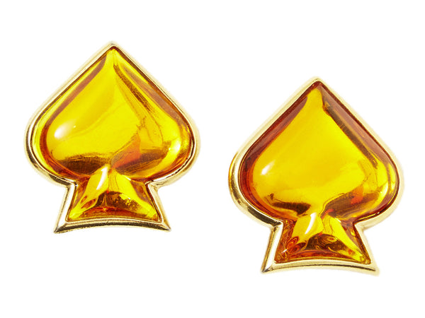 "Yves Saint Laurent Amber ""Spade"" Clip On Earrings"