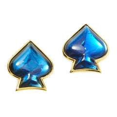 "Yves Saint Laurent Sapphire Blue "" Spade"" Clip On Earrings"