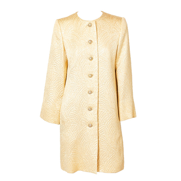 bfe74aa8308 Yves Saint Laurent Gold Matelassé Evening Coat