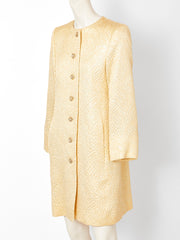 Yves Saint Laurent Gold Matelassé Evening Coat