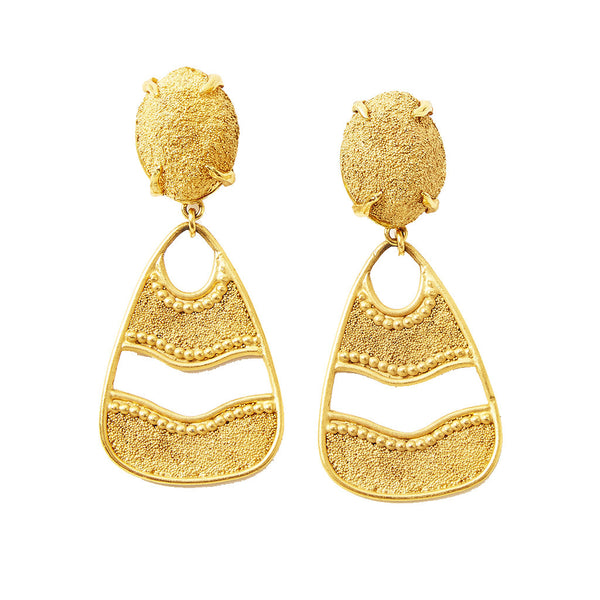 Yves Saint Laurent Gold Dangling Clip On Earrings