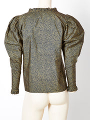 Yves Saint Laurent Gold and Black Peasant Blouse