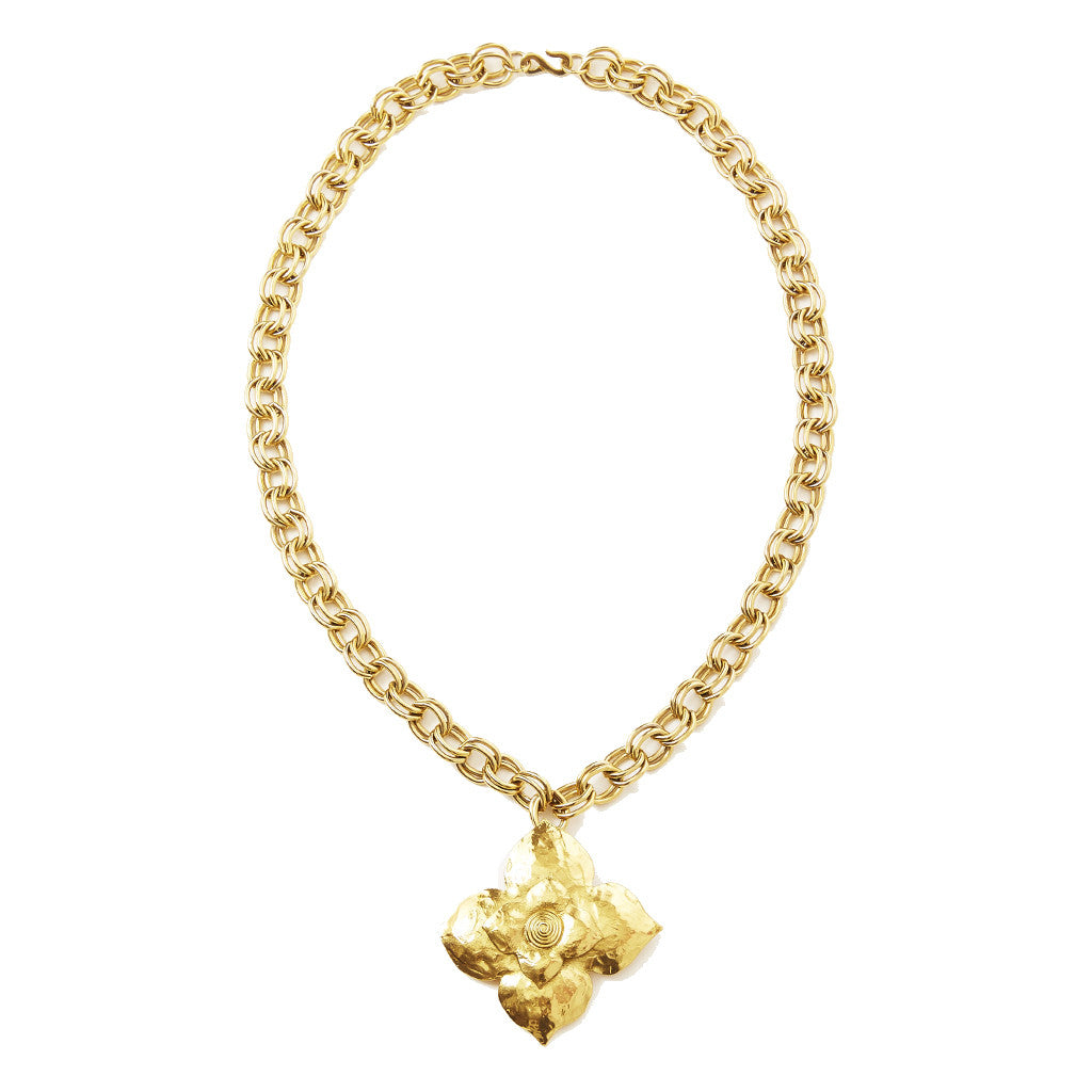 Yves Saint Laurent Hammered Gold Flower Pendent