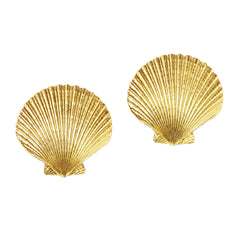 Yves Saint Laurent Clam Shell Clip On Earrings