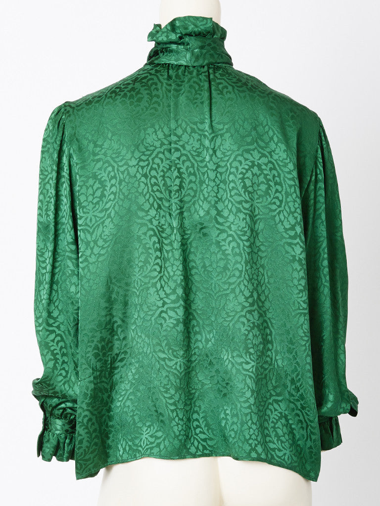Yves Saint Laurent Bottle Green Silk Jacquard Blouse