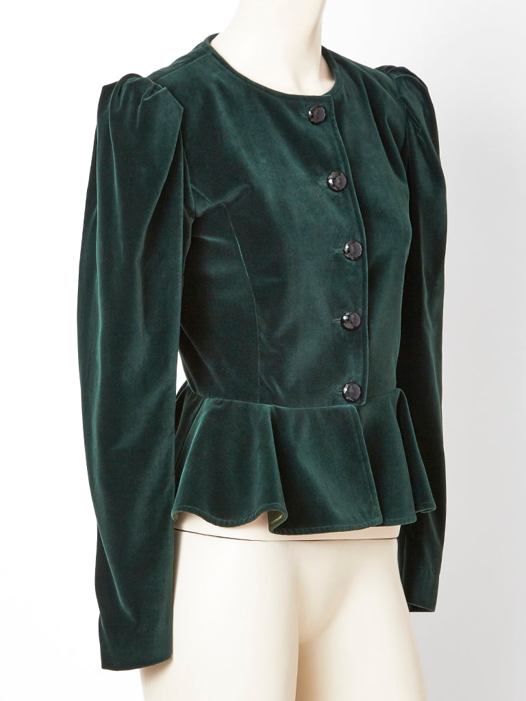 Yves Saint Laurent Velvet Jacket with Pepelum