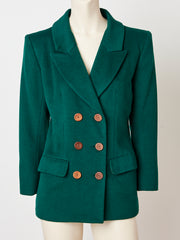Yves Saint Laurent Rive Gauche Bottle Green Double Breasted Blazer