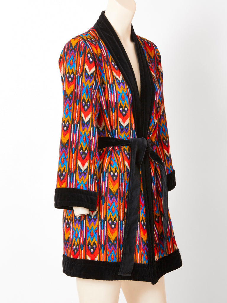 Yves Saint Laurent Ikat Pattern Belted  Wrap Jacket