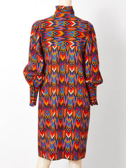 Yves Saint Laurent Wool Challis Day Dress