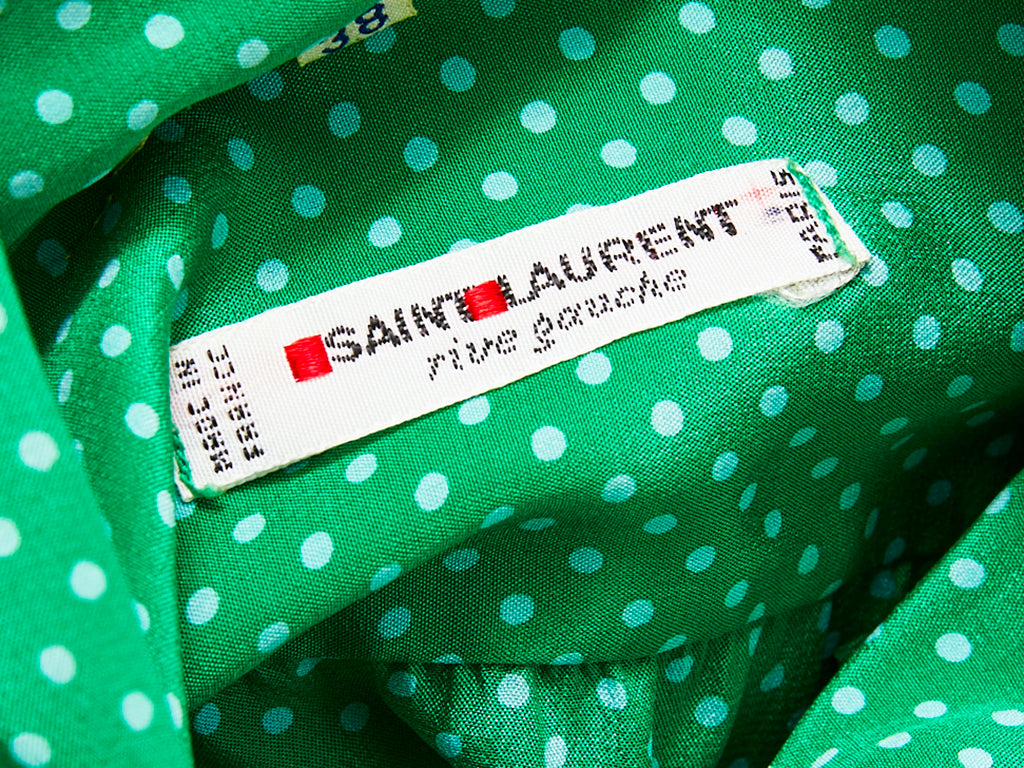 Yves Saint Laurent Silk Polka Dot Pattern Lavaliere Blouse