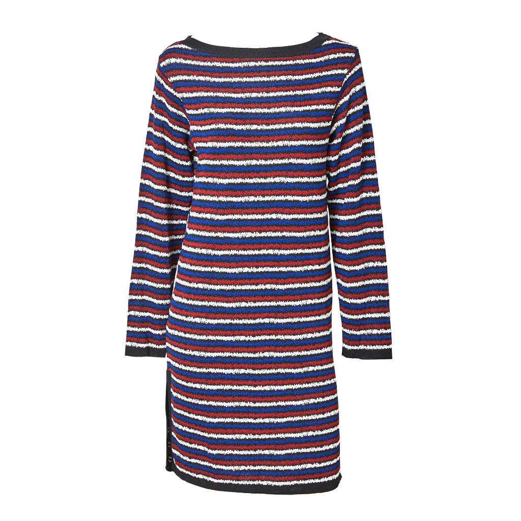 Yves Saint Laurent Rive Gauche Horizontal Stripe Long Sleeve Shift