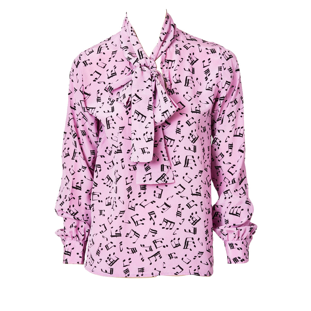 "Yves Saint Laurent Silk ""Musical Notes"" Pattern Blouse"