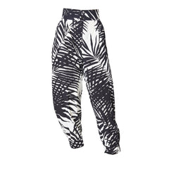 Yves Saint Laurent Black and White Leaf Pattern Harem Pant