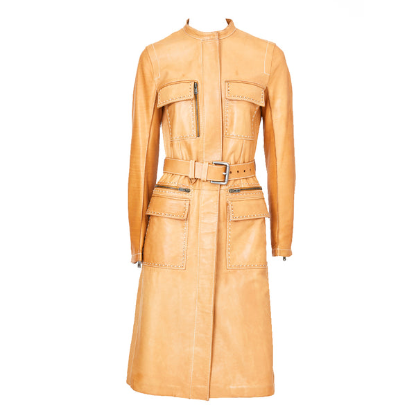 Tom Ford For Yves Saint Laurent Belted Leather Coat