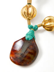 Yves Saint Laurent Rive Gauche Faux Tortoise and Gold Leaf Pendent