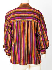 Yves Saint Laurent Stripe Silk Blouse with Mandarin Collar