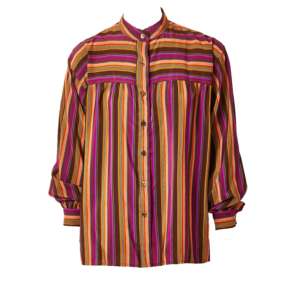 18fd203277cc7 Yves Saint Laurent Stripe Silk Blouse with Mandarin Collar –  marlenewetherell.com