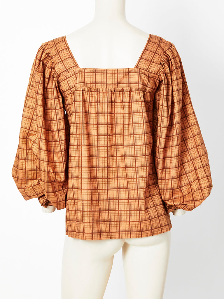 Yves Saint Laurent Window Pane Plaid Blouse