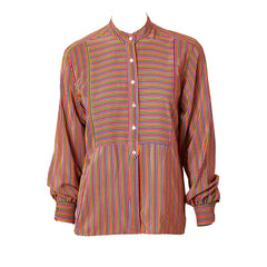 Yves Saint Laurent Stripe Silk Blouse