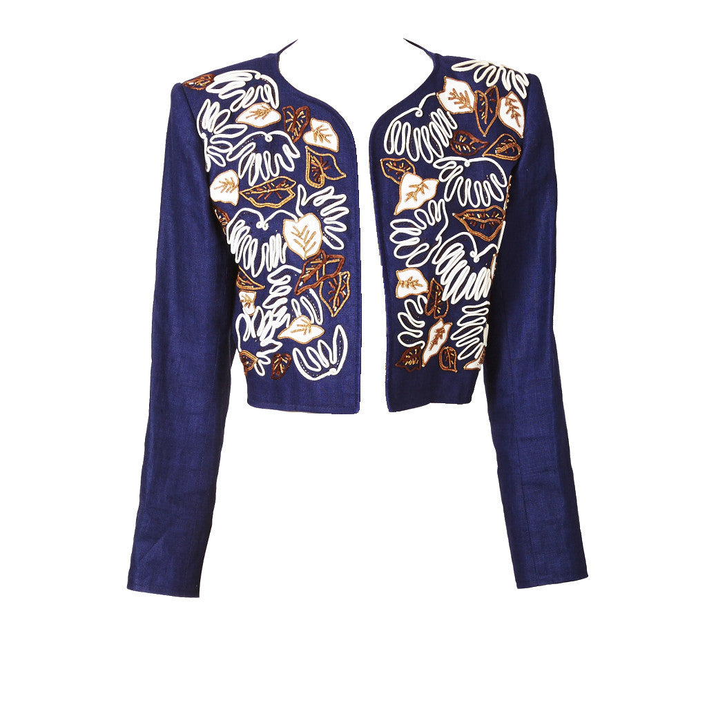 Yves Saint Laurent Linen Matisse Inspired Cropped Jacket