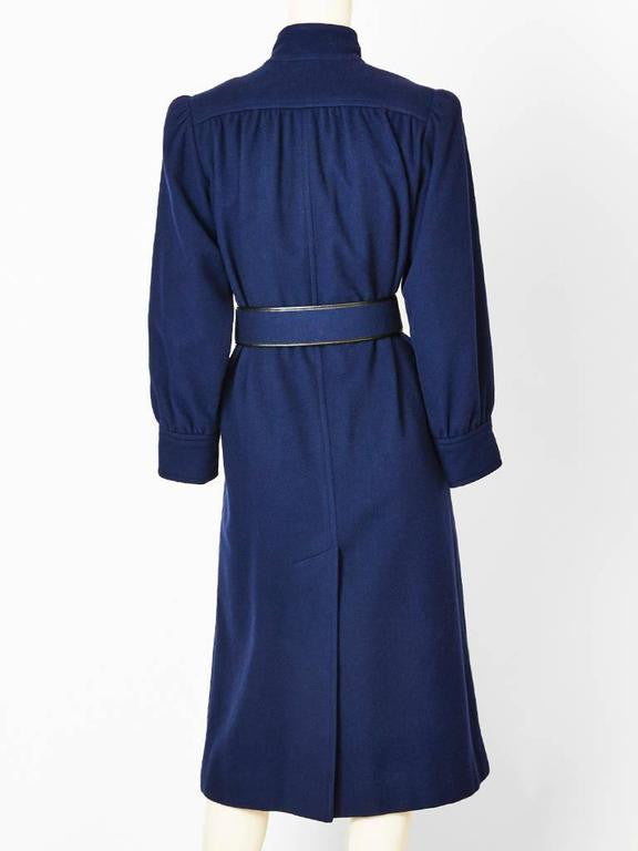 Yves Saint Laurent Navy Blue Belted Coat
