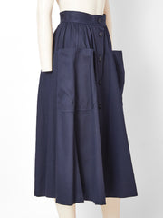 Yves Saint Laurent Rive Gauche Patch Pocket Midi Skirt