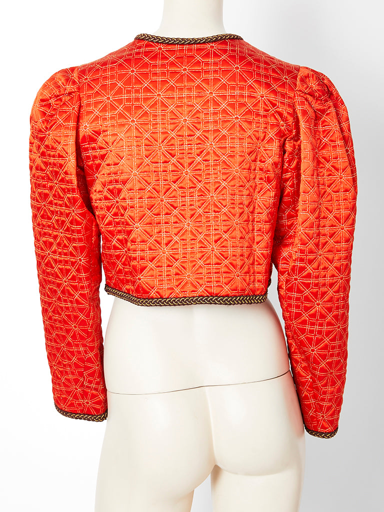 Yves Saint Laurent Rive Gauche Quilted Cropped Jacket
