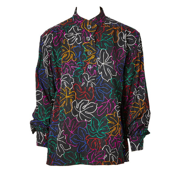 Yves Saint Laurent Leaf Pattern Silk Jacquard Blouse