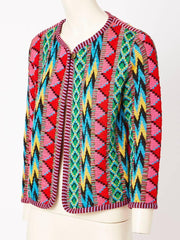 Yves Saint Laurent Colorful Wool Knit Patterned Cardigan