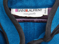 "Yves Saint Laurent Peacock Blue ""Gendarme"" Cape"