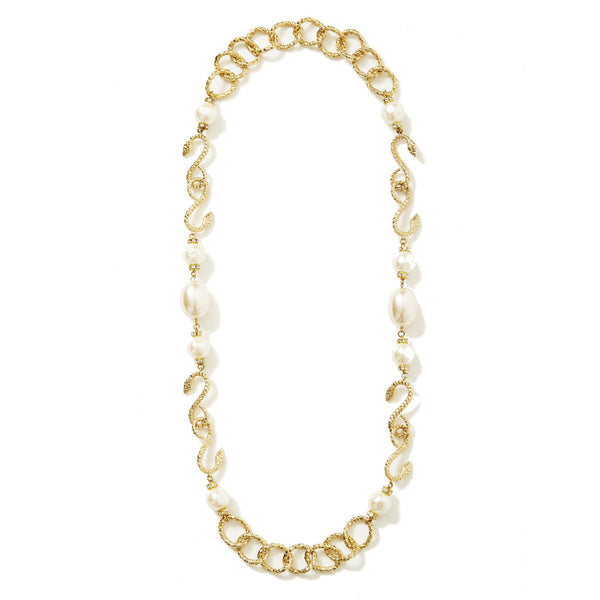 b1d10b539d6 Yves Saint Laurent Snake Necklace with Baroque Pearls – marlenewetherell.com