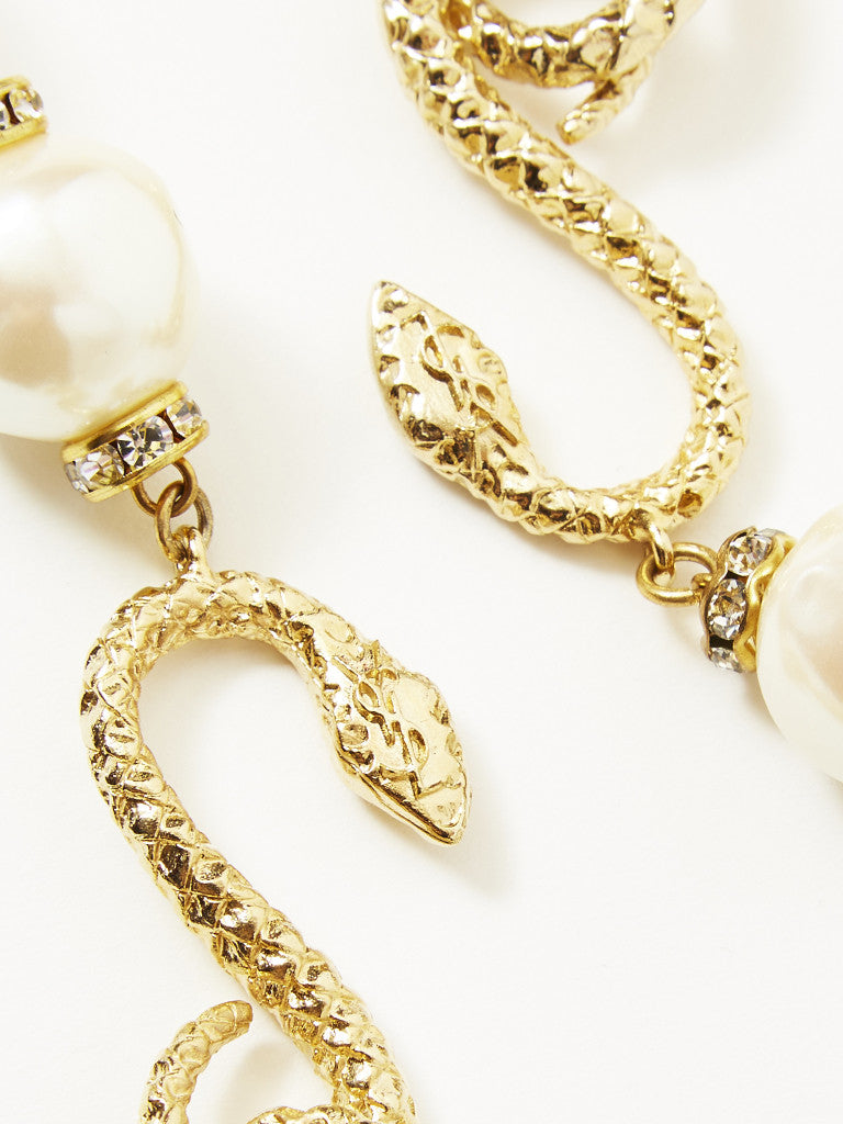 Yves Saint Laurent Snake Necklace with Baroque Pearls