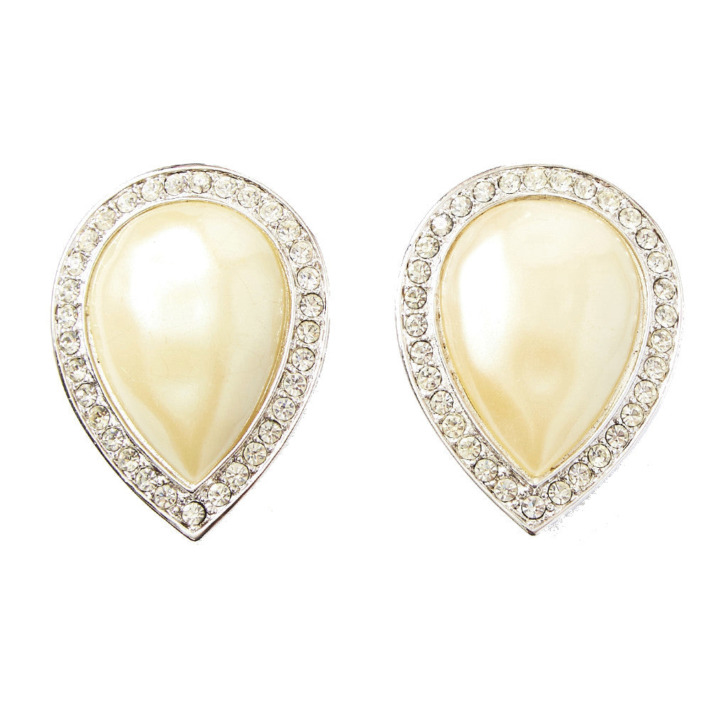 Yves Saint Laurent Pearl Clip On Earrings
