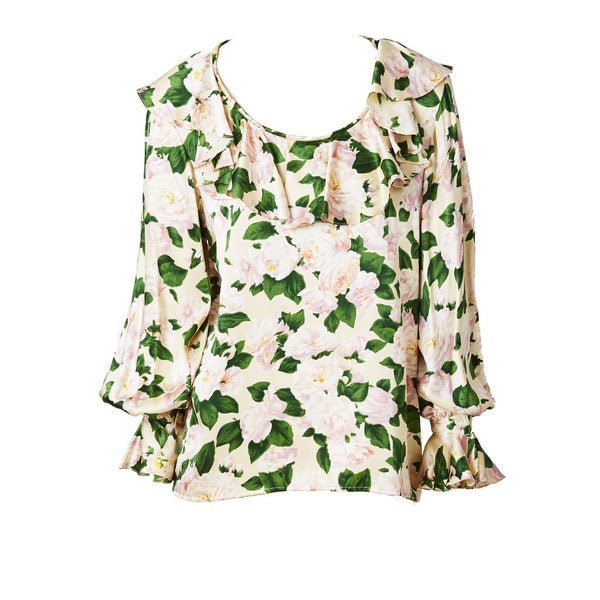 Yves Saint Laurent Cabbage Rose Patterend Silk Blouse