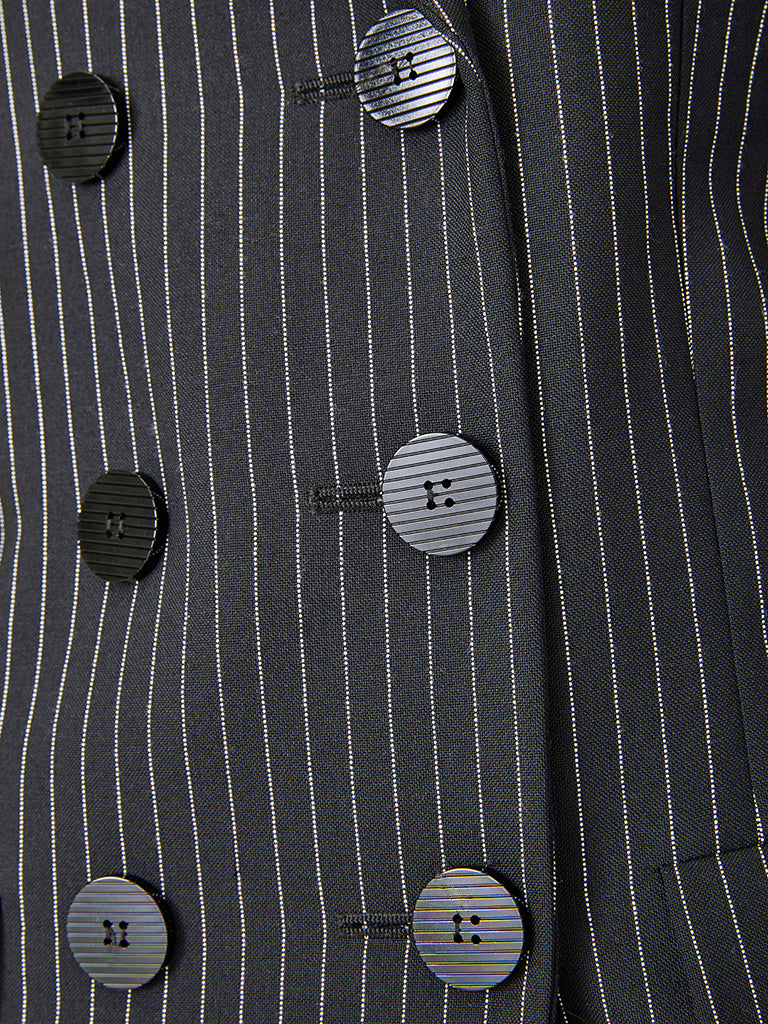 Yves Saint Laurent Double Breasted Pin Stripe Pant Suit