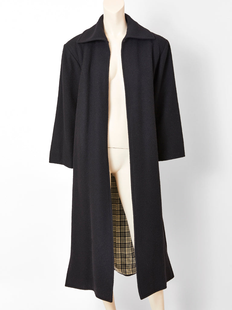 Yves Saint Laurent Coat With Plaid Interior