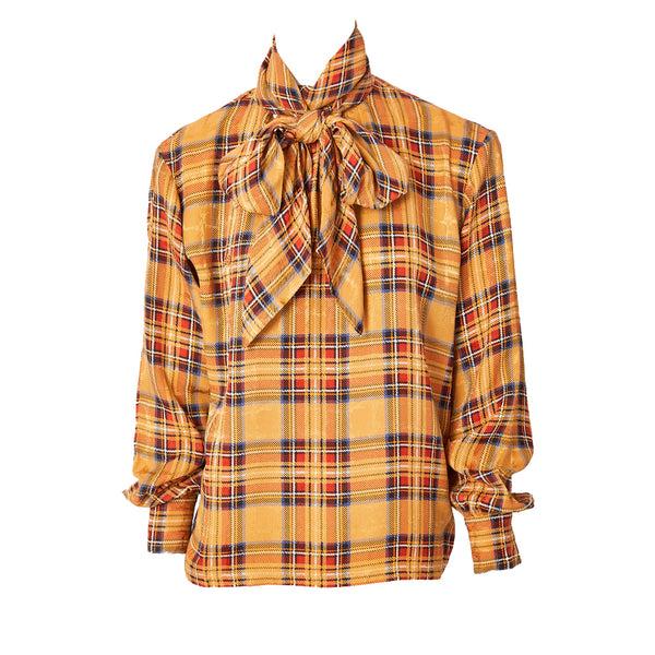c4ec40ad661 Yves Saint Laurent Rive Gauche Plaid SIlk Jacquard Blouse