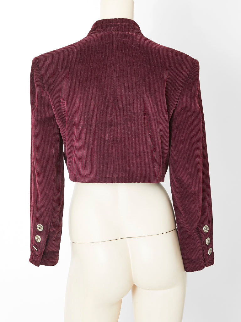 Yves Saint Laurent Corduroy Cropped Jacket