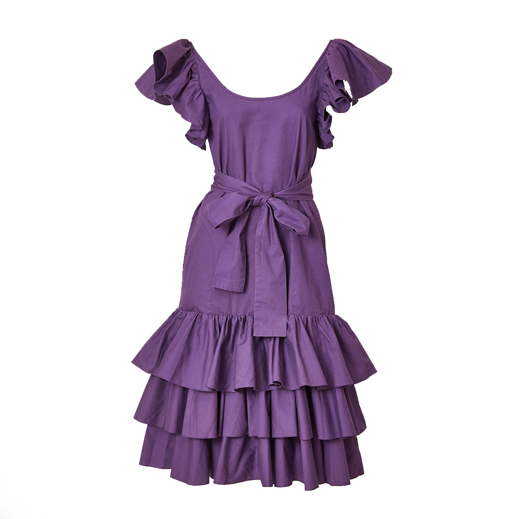 Yves Saint Laurent 70's Belted Day Dress with Ruffle Detail