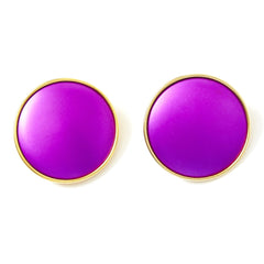 Yves Saint Laurent Purple Enamel Clip On Earrings