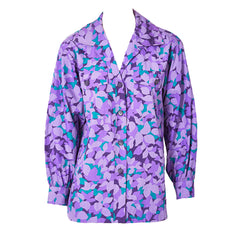 Yves Saint Laurent Rive Gauche Abstract Floral Pattern Cotton Shirt