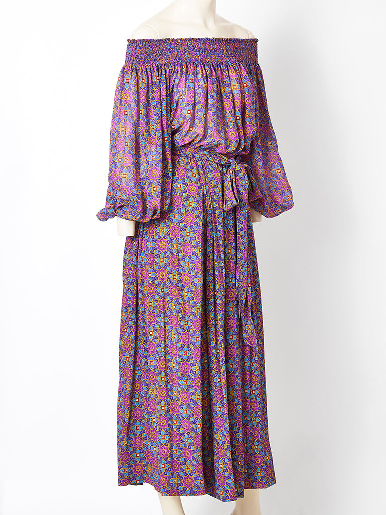 Yves Saint Laurent Foulard Print Silk and Chiffon Gypsy Ensemble