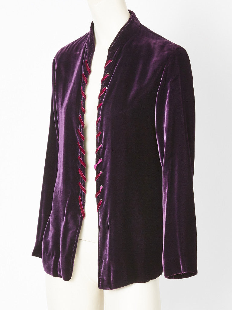 Yves Saint Laurent Velvet Jacket With Lacing Detail