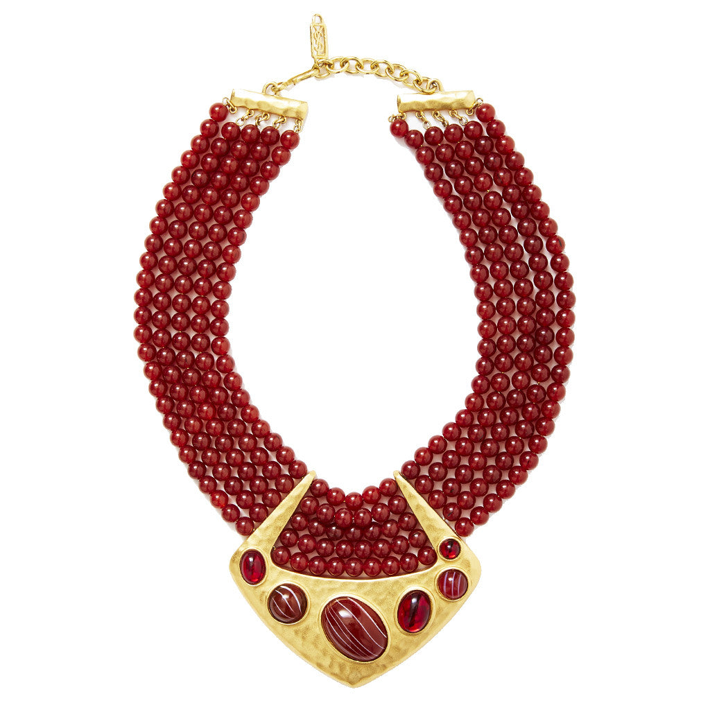 Yves Saint Multi Strand Bib Necklace With Hammered Gold Detail
