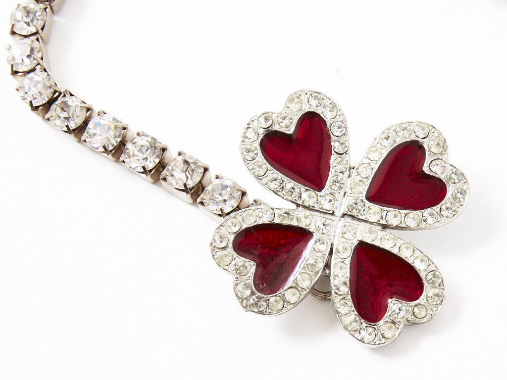 "Yves Saint Laurent ""Ruby"" Rhinestone Four Leaf Clover Belt"