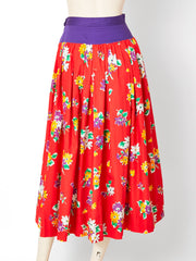Yves Saint Laurent Rive Gauche Floral Pattern Cotton Skirt and Blouse Ensemble
