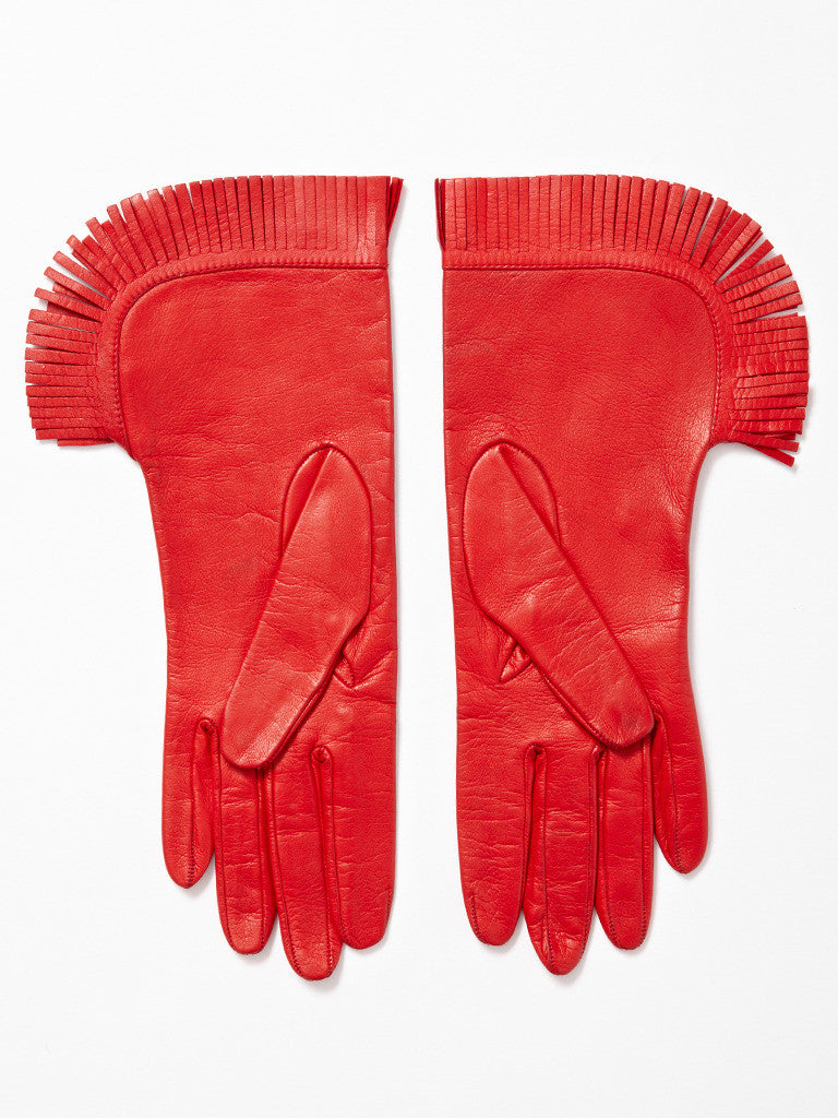 Yves Saint Laurent Fringed Leather Gloves