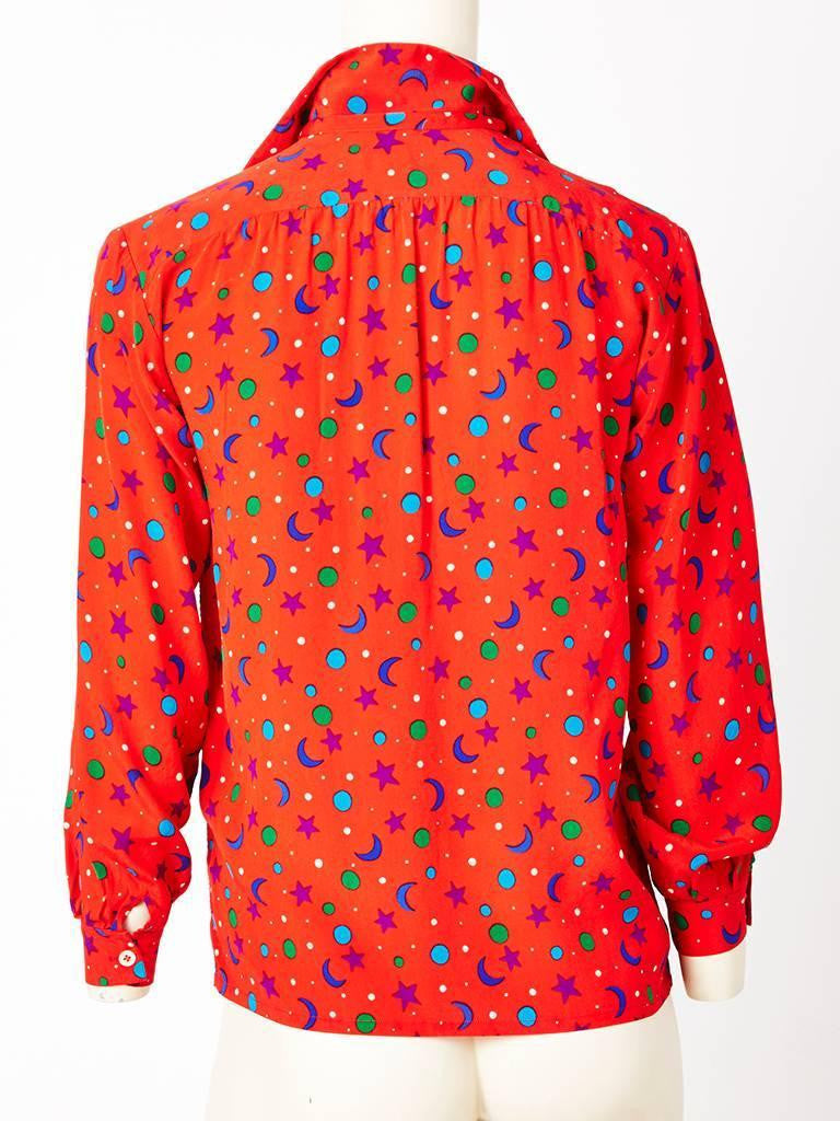 Yves Saint Laurent Star and Moon Patterned Silk Blouse